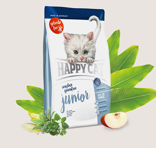 Храна за котки Happy Cat Джуниър Грейн Фрий-без зърнени продукти