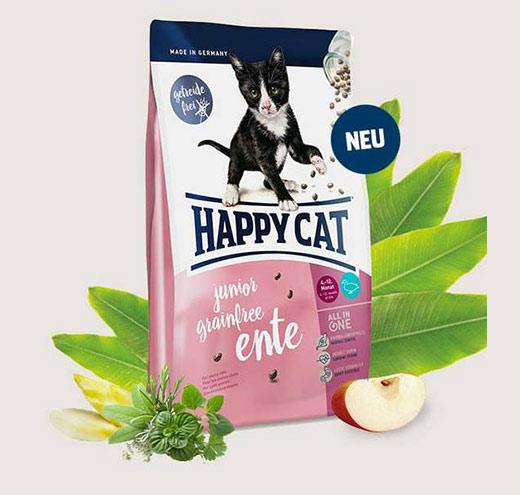 Храна за малки котета Happy Cat F&W HAPPY CAT JUNIOR GRAIN –FREE /Без зърнени съставки/ с Патешко