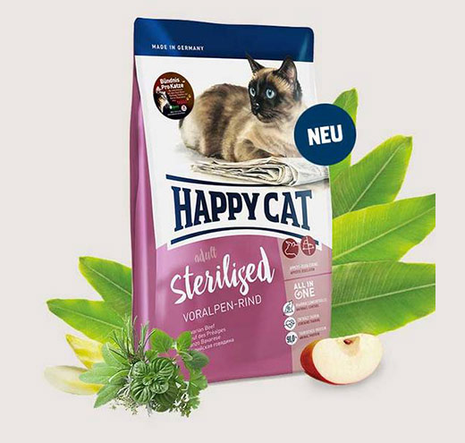 Храна за котки Happy Cat за Стерилизирани котки с Говеждо